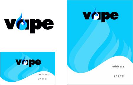Vape, Vapor, Business Card Design and Broschure 向量圖像