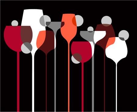 Wine Liquor Glasses Banner Illustration