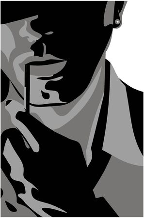 Man with a cigarette Stock Illustratie