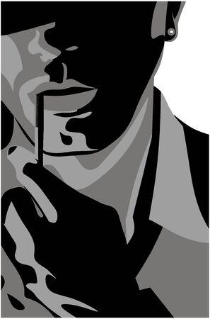 Man with a cigarette Ilustração