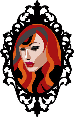 Beautiful Red Head woman with long eyelashes in a mirror with vintage frame