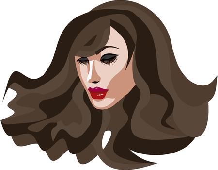 Beautiful Brunette woman with long eyelashes