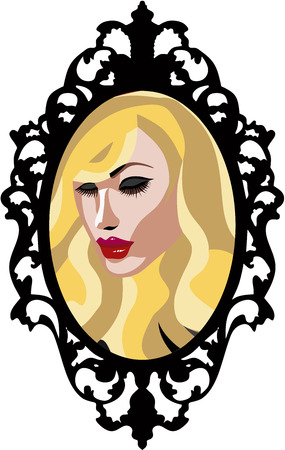 Beautiful Blond woman with long eyelashes in a mirror with vintage frame