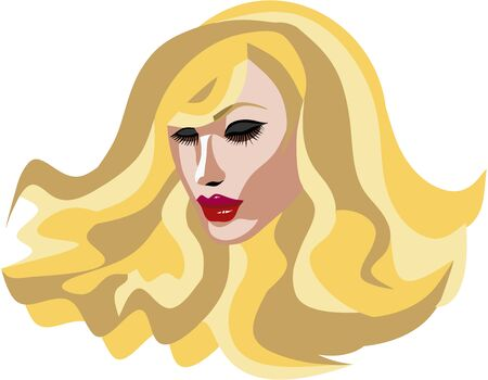 Beautiful Blond woman with long eyelashes