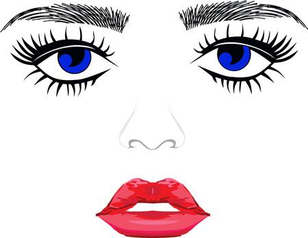 Blaue Augen Augenbrauen Frau Wimpern extentions volle Lippen Standard-Bild - 60327967