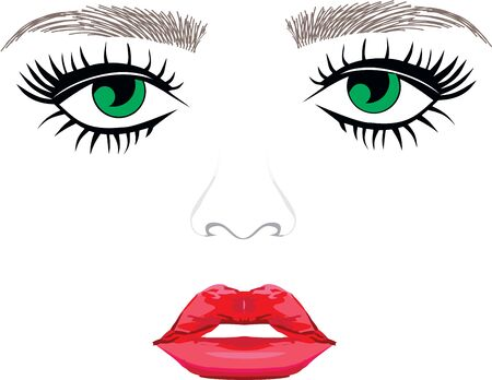 Green eyes eyebrows woman eyelash extentions full lips Stock Illustratie