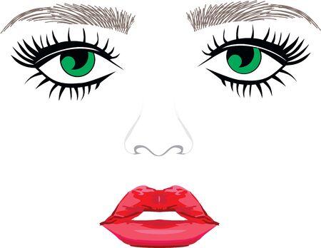 Green eyes eyebrows woman eyelash extentions full lips Illustration