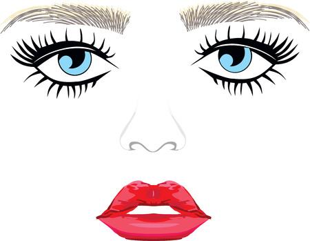 Blaue Augen Augenbrauen Frau Wimpern extentions volle Lippen Standard-Bild - 60327968