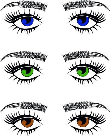 Blue eyes, green eyes, hazel brown eyes eyelash extentions, threading eyebrows Stock Illustratie