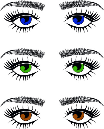 Blue eyes, green eyes, hazel brown eyes eyelash extentions, threading eyebrows Ilustração