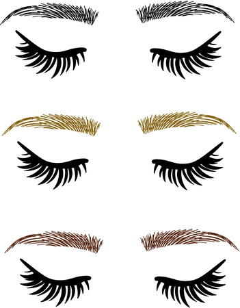 Eyelash extensions, eyebrows threading, eyes open closed Ilustração