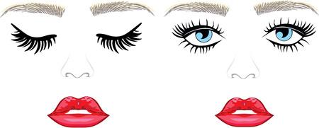 Eyelash extensions, eyebrows threading, eyes open closed Stock Illustratie