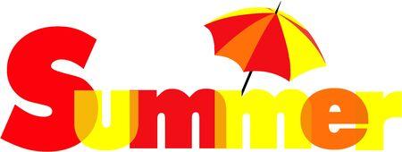 Summer Logo with umbrella overlapping text Stock Illustratie