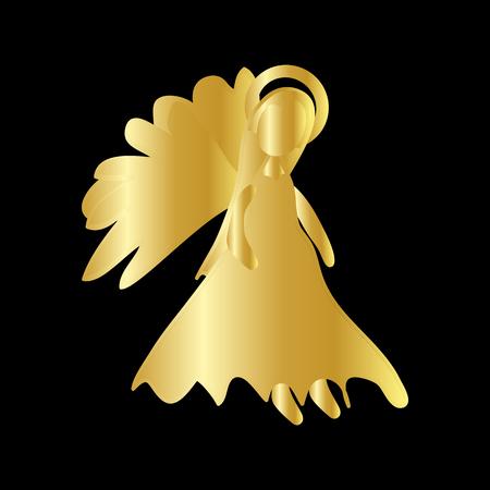 Christmas Angel Gold Icon Symbol Design. Illustration
