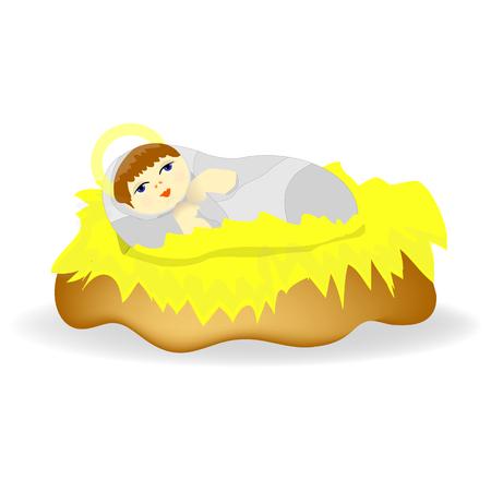 creche: Baby Jesus Christ as crib figure Icon Symbol Design.