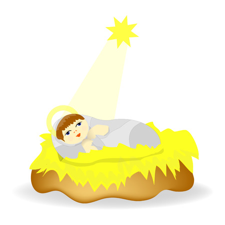 creche: Baby Jesus Christ as crib figure Icon Symbol Design.