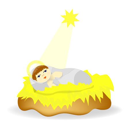 Baby Jesus Christ as crib figure Icon Symbol Design.