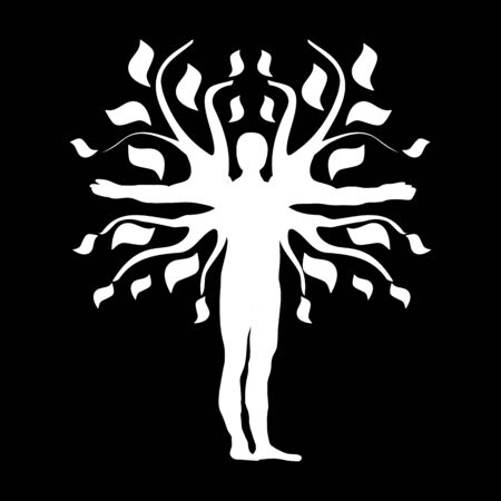 Human Tree Silhouette Icon Symbol Design. Illustration