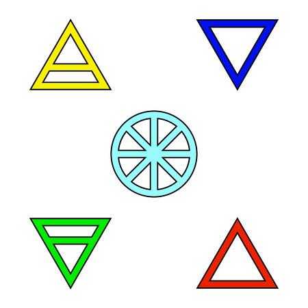 5 つの要素フラット色アイコン セット シンボル デザイン。