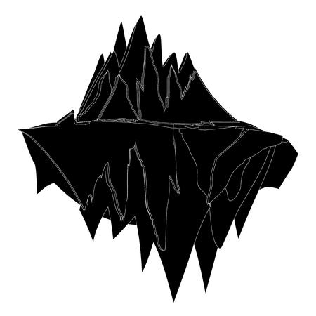 Iceberg Underwater Silhouette Icon Symbol Design.