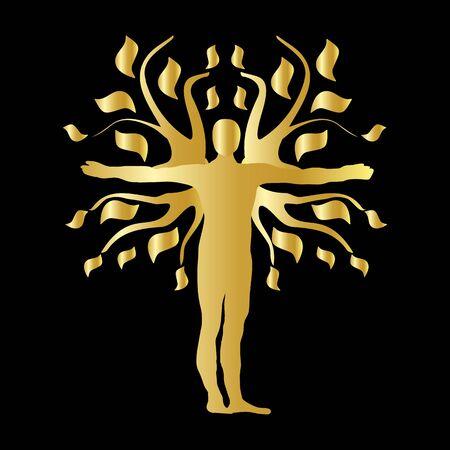 qi: Gold Human Tree Silhouette Icon Symbol Design. Illustration