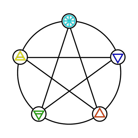Pentagram with Five Elements Icon Symbol Design. Illustration