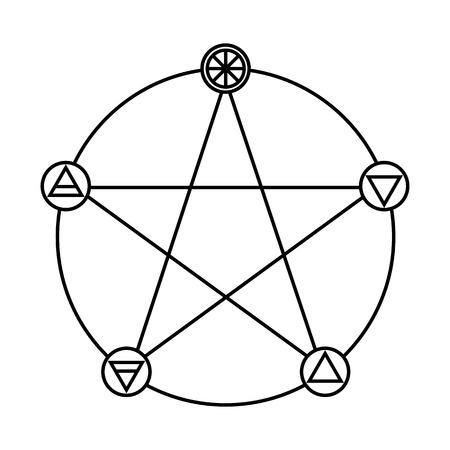 Pentagrama con cinco elementos Esquema plano de símbolo del icono del diseño. Foto de archivo - 69232185