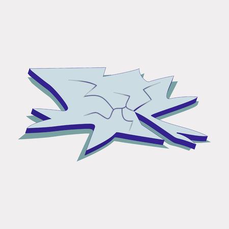 Broken and Cracked Ice Floe Icon Symbol Design.