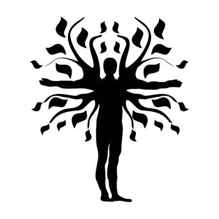 qi: Human Tree Silhouette Icon Symbol Design. Illustration