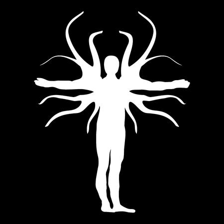 qi: Winter Human Tree Silhouette Icon Symbol Design.
