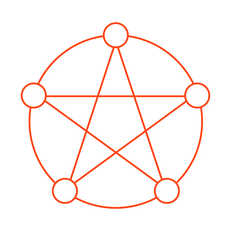 Pentagram with Five Elements Flat Outline Icon Symbol Design.