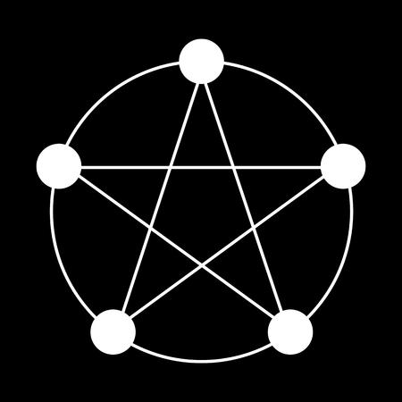 Pentagram of 5 Elements Icon Symbol Design.