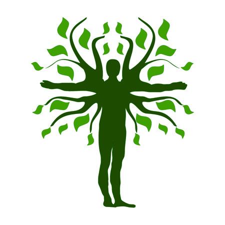 qi: Green Human Tree Silhouette Icon Symbol Design.