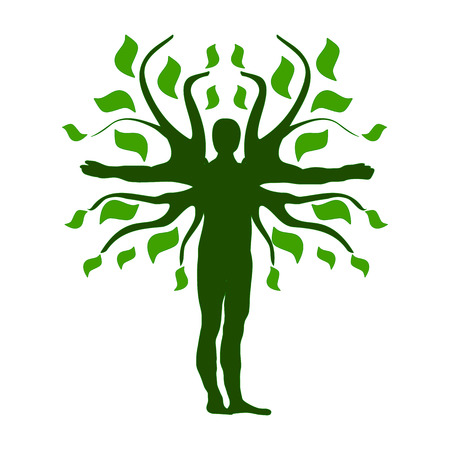 Green Human Tree Silhouette Icon Symbol Design.