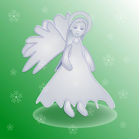 Christmas Angel Icon Symbol Design. Vector Christmas illustration with snowflakes. Angel silhouette. Illustration
