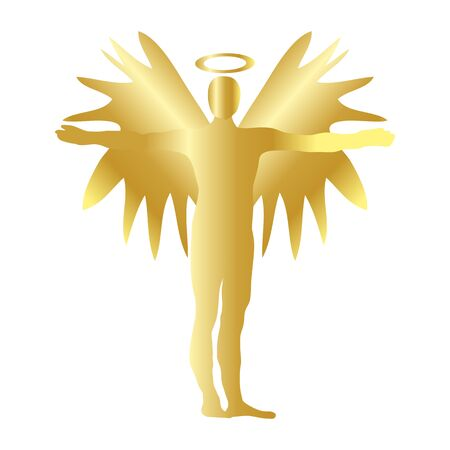Christmas Angel Gold Icon Symbol Design. Vector Christmas illustration isolated on white background. Angel silhouette.
