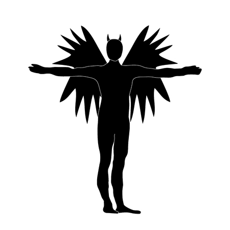 darkness: Angel of Darkness Black Silhouette Icon Symbol Design. Vector illustration isolated on White background. Angel of Darkness silhouette.