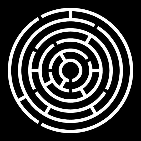 Maze Symbol Round Icon Design  Vector simple circle labyrinth