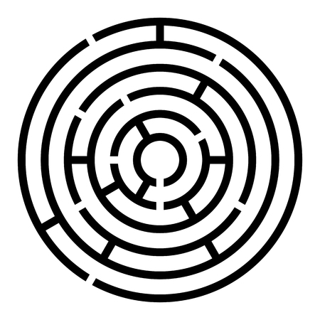 Maze Symbol Round Icon Design. Vector simple circle labyrinth sign or logo element isolated on white background Illustration