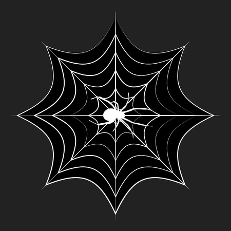 Spider Web Icon Symbol Design. Vector illustration of cobweb with spider isolated on black background. Halloween graphic.