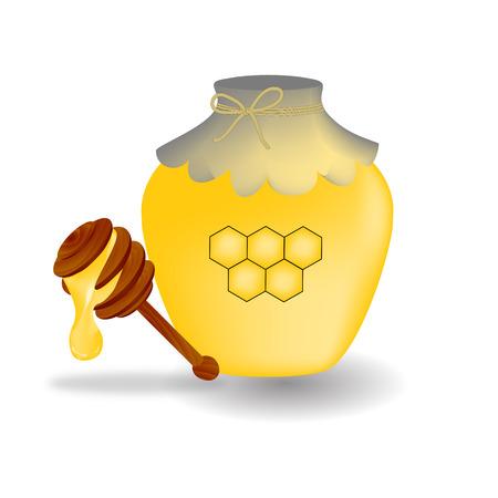 Honey Pot with Stick Icon Symbol Design