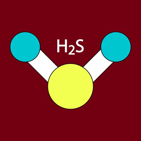 Hydrogen Sulfide Molecule Color Icon Illustration