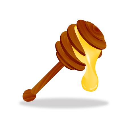 Honey Stick with Dripping Honey Icon Symbol Design.