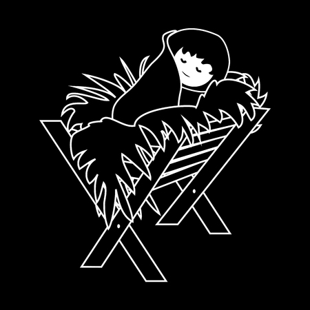 Baby Jesus Christ in the Manger.Outline Figure Icon Symbol Design. Vector Christmas illustration isolated on black background