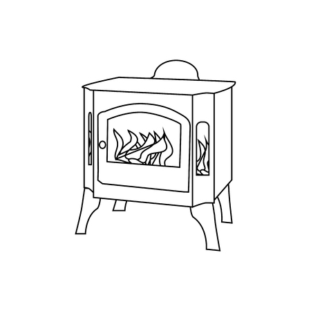 Metal fireplace in flat style. Vector illustration of hearth. Outline Christmas Stove illustration isolated on white background