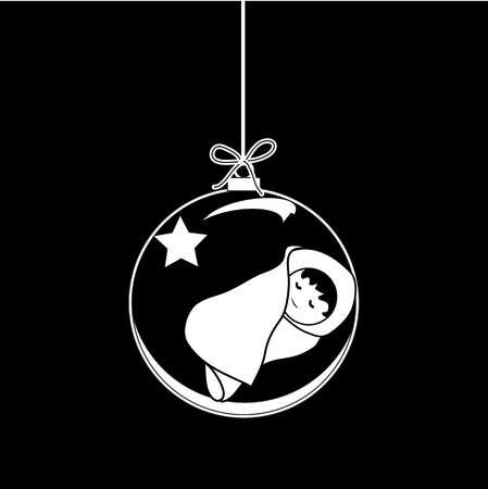 Flat Christmas Ball with Bow, Star and  Baby Jesus Christ. Vector Bauble with Baby Jesus Figure decorative xmas ornament. Illustration isolated on black background. Silhouette Icon Symbol Design. Illustration
