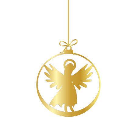 Flat Christmas Ball with Bow and Angel. Vector  Gold Bauble with  Angel decorative xmas ornament. Illustration isolated on white background. Silhouette Icon Symbol Design.