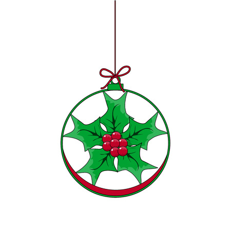 Flat Christmas Ball with Bow and  Mistletoe. Vector Bauble with green and red Holly Berry decorative xmas ornament. Illustration isolated on white background. Silhouette Icon Symbol Design.