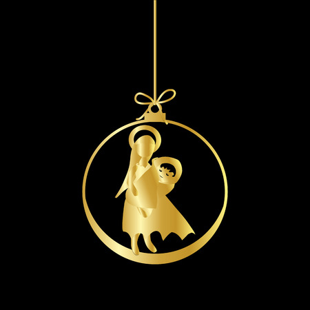 Flat Christmas Ball with Bow, Maria and  Baby Jesus Christ. Vector Gold Bauble with gold Mother Maria and Baby Jesus Figure decorative xmas ornament. Illustration isolated on black background. Silhouette Icon Symbol Design.