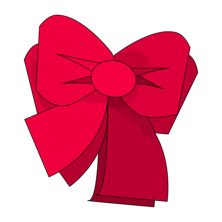 Bow Icon Symbol Design. Vector illustration of red bow isolated on white background. Can be use for decoration gifts, greetings, holidays, etc.